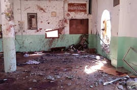 The inside of a Sunni mosque after a suicide bomber struck during Friday prayers in the village of Umm al-Adham in Diyala province, Iraq, Sept. 13, 2013.