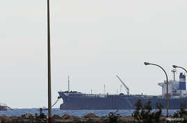A North Korean-flagged tanker is docked at the Es Sider export terminal in Ras Lanuf, March 8, 2014.