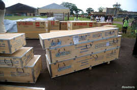 World Health Organization (WHO) medical supplies to combat the Ebola virus are seen packed in crates at the airport in Mbandaka, Democratic Republic of Congo, May 19, 2018.