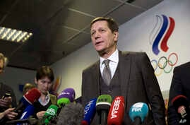 Russian Olympic Committee President Alexander Zhukov speaks to the media during in Moscow, Russia, Feb. 28, 2018.