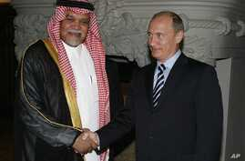 Russian Prime Minister Vladimir Putin greets Head of Saudi Arabia's National Security Council Prince Bandar bin Sultan during a meeting in Moscow, July 2008. (file)