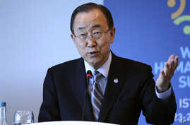 "United Nations Secretary General Ban Ki-moon speaks during a side event entitled: ""Mayor's Focus Session: Cities' Response to Migration"" at the the World Humanitarian Summit in Istanbul, Tuesday, May 24, 2016."