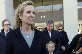 Kerry Kennedy exits the Westchester County Courthouse in White Plains, New York, next to her mother, Ethel Kennedy (bottom), and her brother, Douglas Harriman Kennedy (C), February 24, 2014.