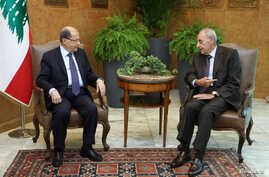 Lebanese President Michel Aoun meets with Lebanese Parliament Speaker Nabih Berri at the presidential palace in Baabda, Lebanon, Nov. 27, 2017.