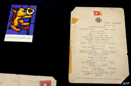 Artifacts related to the Titanic, including the last luncheon menu at the Rare Titanic Artifacts from Lifeboat No. 1 & Other Historic Autographs - Auction Sneak Peak at Lion Heart Autographs on Sept. 28, 2015 in New York City.