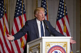 Republican presidential candidate Donald Trump speaks during the Palm Beach County GOP Lincoln Day Dinner at the Mar-A-Lago Club, Sunday, March 20, 2016, in Palm Beach, Florida.