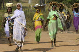 FILE - Sudanese refugees from Darfur carry goods and firewood near the village of Sam Ouandja, in the remote northeast of the Central African Republic, Dec. 6, 2007. Some 1,500 refugees from Darfur in the CAR are scheduled to return home by the end o