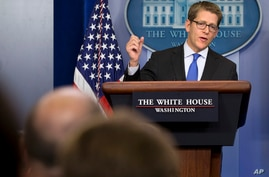White House press secretary Jay Carney answers questions about Syria and chemical weapons during his daily news briefing at the White House in Washington, Aug. 27, 2013.