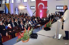 Turkey's President Recep Tayyip Erdogan speaks after receiving a honoris doctorate from the International University of Sarajevo, in Sarajevo, Bosnia, May 20, 2018. Turkey's president addressed thousands of expatriate Turks in Bosnia's capital Sunday