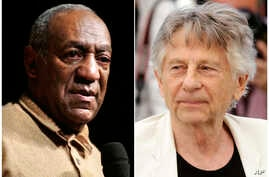 "In this combination photo, Bill Cosby addresses an audience at the University of the District of Columbia in Washington on May 16, 2006, left, and director Roman Polanski appears at the photo call for the film, ""Based On A True Story,"" at the Cannes"