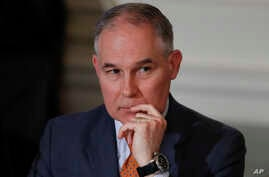 Environmental Protection Agency Administrator Scott Pruitt attends a meeting with state and local officials in the State Dining Room of the White House in Washington, Feb. 12, 2018.