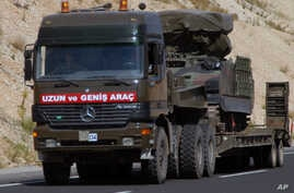 FILE - A Turkish military truck is seen transporting a mobile missile launcher.