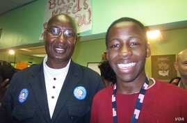 Bakary Tandia (left) poses for a photo with one member of his grassroots volunteer team, in Philadelphia, Pennsylvania, on Election Day 2008. (Credit: Bakary Tandia)