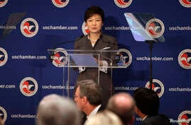 South Korean President Park Geun-hye addresses the U.S. The Chamber of Commerce in Washington, May 8, 2013.