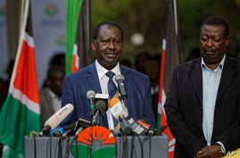 Kenya's opposition leader Raila Odinga makes a statement to the media in Nairobi, Oct. 31, 2017.