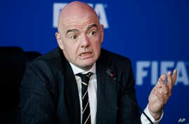 FIFA President Gianni Infantino speaks during a news conference after the FIFA council meeting, in Bogota, Colombia, March, 16, 2018.