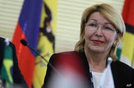 Venezuela's ousted Chief Prosecutor Luisa Ortega Diaz attends a meeting of Mercosur trade bloc prosecutors, in Brasilia, Brazil, Aug. 23, 2017.