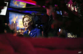 Republican presidential candidate, businesswoman Carly Fiorina speaks with the media during a campaign stop at the Peppermill Fireside Lounge, Monday, Jan. 18, 2016, in Las Vegas.