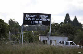 FILE - An image taken Apr. 15, 2010, shows a sign posted outside Harare Prison in Harare, Zimbabwe.