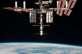 The International Space Station above the Earth. Astrophys