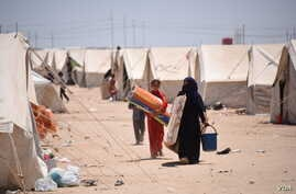Newly arrived Iraqis from Fallujah collect emergency aid distributed at Amariyat Al Fallujah displacement camp. Photo: Karl Schembri/NRC