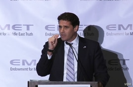 Israeli Ambassador to the US Ron Dermer speaks at a dinner held by the Endowment for Middle East Truth in Washington, June 14, 2017