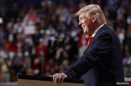 Republican presidential nominee Donald Trump speaks during the final session of the Republican National Convention in Cleveland, Ohio, July 21, 2016.