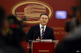 Macedonian Prime Minister Nikola Gruevski announces his resignation in front of the media, at the Government building in Skopje, Macedonia, Jan. 14, 2016.