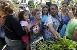 Supporters of Venezuela's President Nicolas Maduro place flowers in front of portraits of Venezuela's late president, Hugo Chavez, at the Plaza Bolivar near the building housing the National Assembly in Caracas, Jan. 7, 2016.