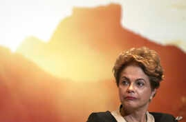 """Brazil's President Dilma Rousseff attends an event launching the """"Olympic Year for Tourism"""" in Brasilia, Brazil, Oct. 7, 2015."""