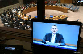 Nickolay Mladenov (on screen), United Nations Special Coordinator for the Middle East Peace Process, briefs the U.N. Security Council from Jerusalem on the situation in the Middle East as the Council meets on Israel and Palestine at U.N. headquarters
