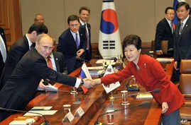 Russian President Vladimir Putin, left, shakes hands with South Korean President Park Geun-hye during their meeting at the presidential Blue House in Seoul on Wednesday, Nov. 13, 2013.