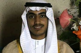 In this image from video released by the CIA Nov. 1, 2017, Hamza bin Laden is seen on an undertermined date at his wedding.