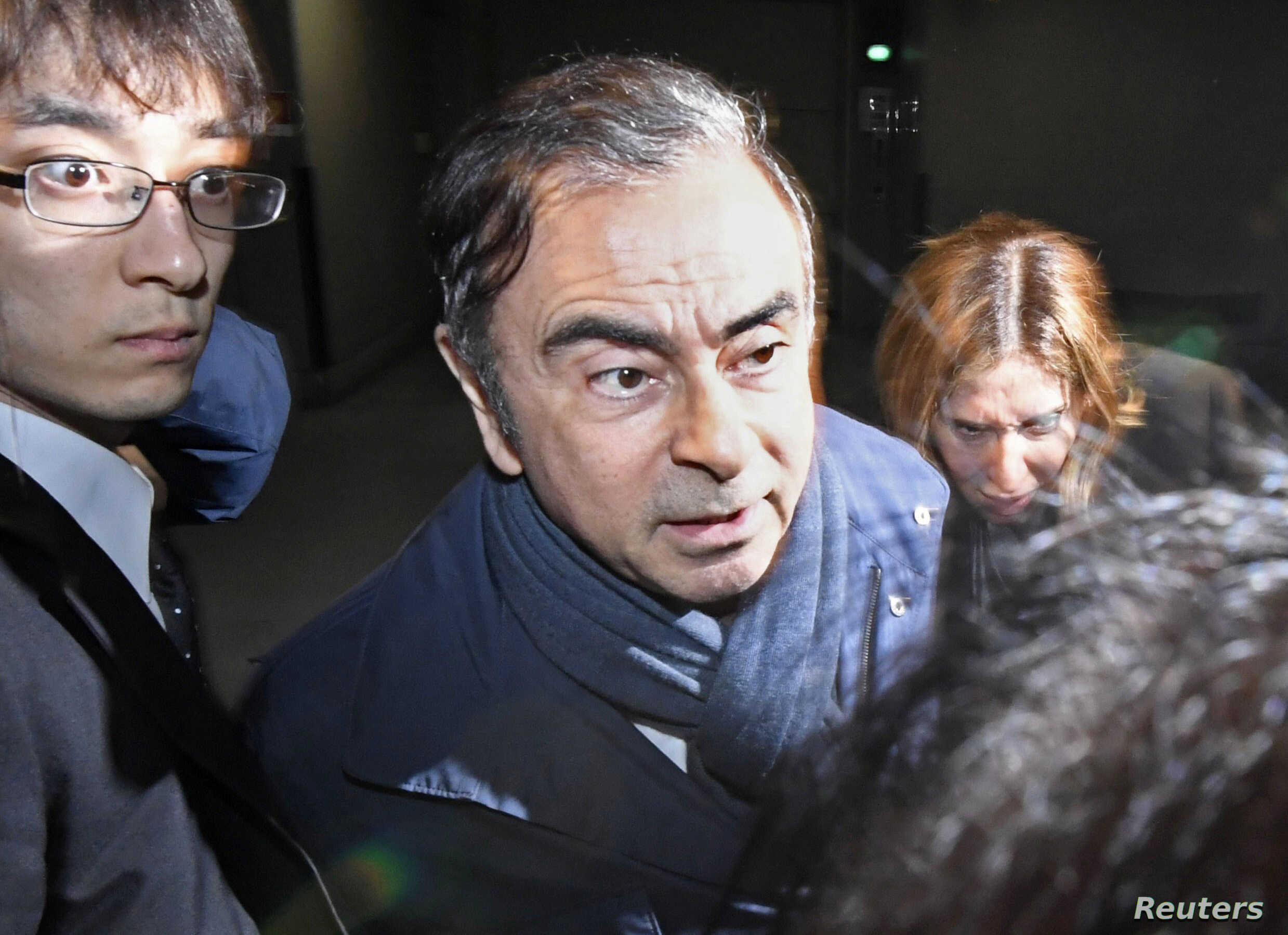 Former Nissan Motor Chairman Carlos Ghosn leaves his lawyer's office in Tokyo, Japan, in this photo taken by Kyodo April 3, 2019.