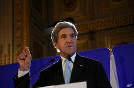 FILE - U.S. Secretary of State John Kerry gives a press conference after a meeting on Syria, in Paris.