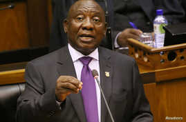 President Cyril Ramaphosa delivers his State of the Nation address at Parliament in Cape Town, South Africa, Feb. 16, 2018.