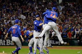 The Chicago Cubs celebrate after Game 7 of the Major League Baseball World Series against the Cleveland Indians, Nov. 3, 2016.