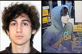 This combination of photos provided on April 19, 2013 by the FBI, left, and the Boston Regional Intelligence Center, right, shows a suspect that officials have identified as Dzhokhar Tsarnaev, being sought by police in connection with the Boston Mara