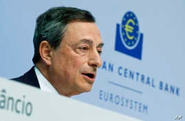 President of European Central Bank Mario Draghi speaks during a press conference of the ECB in Frankfurt, Germany, April 15, 2015.