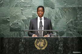 FILE - Zambian President Edgar Lungu speaks before attendees during the 70th session of the United Nations General Assembly at the U.N. Headquarters in New York, Sept. 29, 2015.