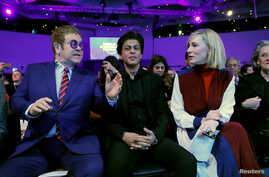 Actor Cate Blanchett, actor Shah Rukh Khan and singer Elton John are pictured at the Crystal Awards ceremony of the annual meeting of the World Economic Forum (WEF) in Davos, Switzerland, Jan. 22, 2018.