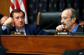 House Foreign Affairs Committee Chairman Ed Royce, R-Calif., left, and the committee's ranking member Rep. Eliot Engel, D-N.Y., listen during testimony during a committee hearing on North Korea sanctions, Sept. 12, 2017, on Capitol Hill in Washington