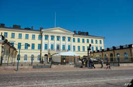 The Presidential Palace is pictured in Helsinki, Finland on July 14, 2018, ahead of the meeting between US President Donald Trump and his Russian counterpart Vladimir Putin.