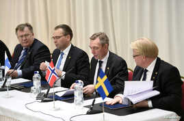 (L-R) Defense Ministers Claus Hjort Frederiksen of Denmark, Jussi Niinisto of Finland, Frank Bakke-Jensen of Norway and Peter Hultqvist of Sweden during the defense ministers Nordefco meeting in Helsinki, Finland, Nov. 6, 2017.