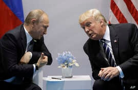 President Donald Trump meets with Russian President Vladimir Putin at the G20 Summit, July 7, 2017, in Hamburg.