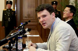 FILE - In this Feb. 29, 2016, file photo, American student Otto Warmbier speaks as he is presented to reporters in Pyongyang, North Korea.