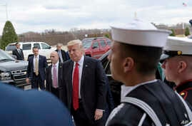 FILE - President Donald Trump arrives at the Pentagon, in Arlingtin, Virginia, Jan. 27, 2017. Trump's frequent questions about the value of diplomatic and military assets led his top advisers to lay out the case for a robust U.S. presence around the