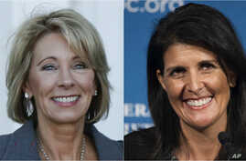 From left, Betsy DeVos, President-elect Donald Trump's choice for education secretary, and Nikki Haley, Trump's choice for U.S. ambassador to the United Nations.