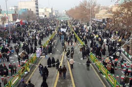 Iranians attend an annual rally commemorating the anniversary of the 1979 Islamic revolution, which toppled the late pro-U.S. Shah, Mohammad Reza Pahlavi, in Tehran, Iran, Feb. 10, 2017.