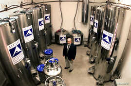 Dr. Jerry Lemler, president and CEO of Alcor Life Extension Foundation, stands in the Patient Care Bay area where the heads and bodies of 49 individuals are being held in cold storage suspension, at the company's headquarters in Scottsdale, Arizona,